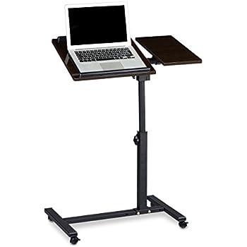 Relaxdays Table ordinateur portable hauteur réglable XL HxlxP: 95 x 60 x 40 cm bois ébène support laptop netbook avec 4 roulettes tablette surface pour souris antidérapant table appoint gauchers, noir