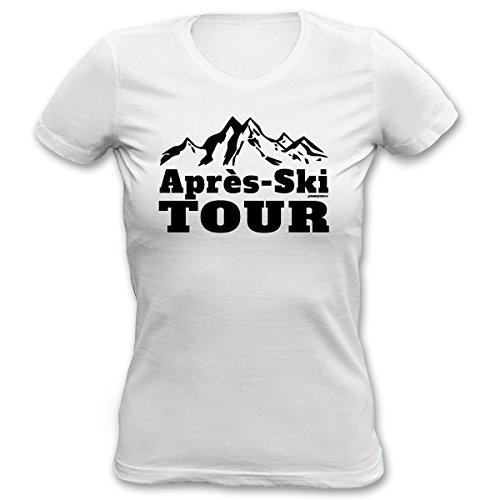 Aprés-Ski 4Girls T-Shirt <->          Aprés-Ski TOUR          <->           kleines Präsent zum Skifahren, Goodman Design Weiss Weiß