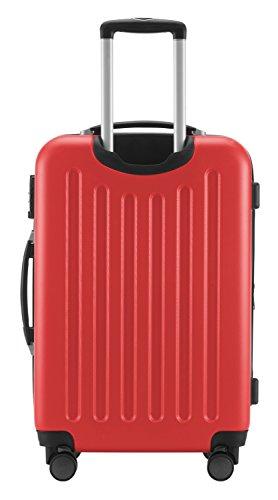 HAUPTSTADTKOFFER® 82 Liter Reisekoffer · SPREE · TSA · MATT · NEU 4 Doppel-Rollen · (in 12 Farben) + LogiLink® Flugzeug Audio Adapter (Schwarz) Rot