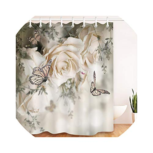 Margot-Charismatic-Shop Shower Curtains Duschvorhänge, 182,9 cm, Rosen, Schmetterling, Blumen, Blumen, wasserfest, Polyester, Bade-Dekoration, Siehe Abbildung, 180x180cm
