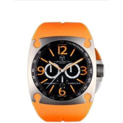 Avio Milano Men's Quartz Watch with Black Dial Chronograph Display and Orange Rubber Strap MK AC 2002