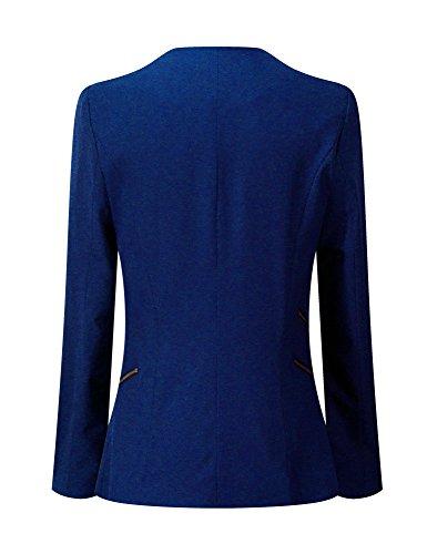 LookbookStore Damen Drapierter Langärmliger Blazer mit Vorne Offnung Seitentasche Einfarbig Knallblau