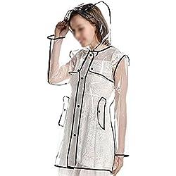 Cape abrigo lluvia mujeres niñas impermeable con capucha portátil Poncho chaqueta impermeable PVC transparente Raincoat con larga mangaCortavientos para viaje senderismo ciclismo moto bicicleta