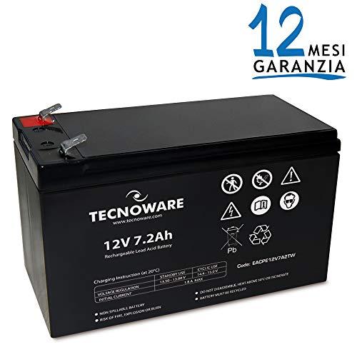 Tecnoware 7.2Ah Lead Acid Batteria, 7.2 A, 12 V, Ermetica al Piombo con Attacco Faston 6.3 mm, per UPS e Altro Uso, Nero