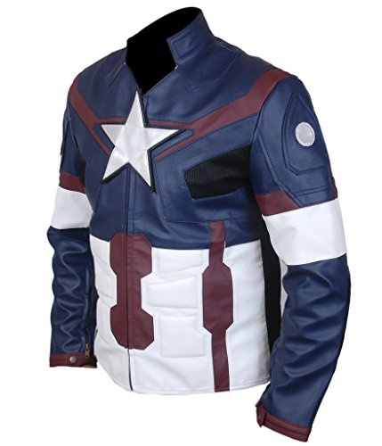 F&H Men's Avengers Age of Ultron Captain America Genuine Leather Jacket blue