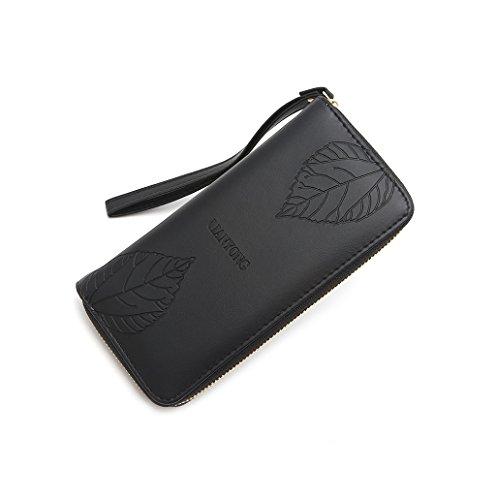 Dairyshop Borsa della borsa del supporto della carta del raccoglitore lungo della borsa della donna della signora di modo (Marrone) Nero