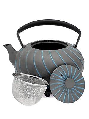 Théière Nami 1L Gris/Bleu Clair Fer Théière avec passoire à thé et soucoupe–Intérieur émaillé