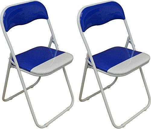 Chaise de bureau bleu/blanc, pliable et matelassée Harbour Housewares - Boîte de 2