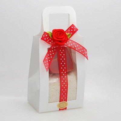 florex Gant de toilette Crème avec cœur moyen 23 g Grenade dans Housse de Transport Blanc M. point Ruban et satin rose