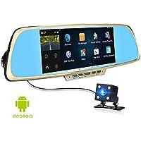 Anstar auto DVR touch screen 6,86 pollici Navigator 1GB e 16GB GPS Android di navigazione dell'automobile dello specchio DVR doppio obiettivo posteriore parcheggio WiFi (aggiungere 16 carte G)
