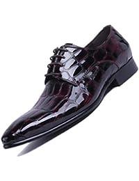 Marrón Negro Derby Puntiagudo Zapatos De Charol para Hombre Británicos.  Vestido Derby De Negocios con 64349fdde564a