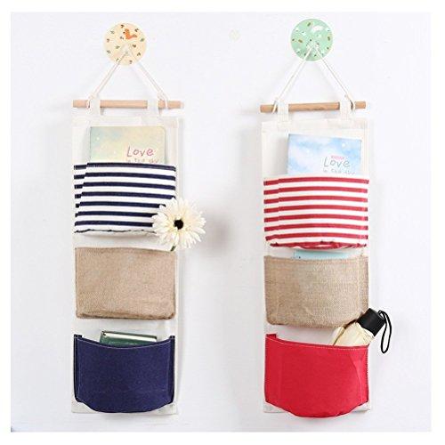 Wasserdicht Tür Hängeorganizer Wandtasche für Dusche,Kinderzimmer 3-Taschen (Rot)