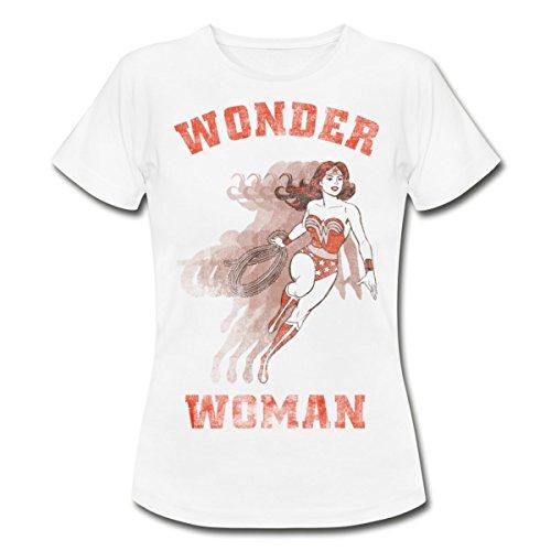 Spreadshirt DC Comics Originals Wonder Woman Vintage Frauen T-Shirt, S (36), Weiß