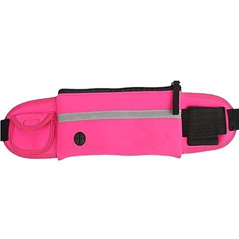 Zipper Running Belt Waterproof Waist Pack With Water Bottle Holder for Men/Women,Rose Red