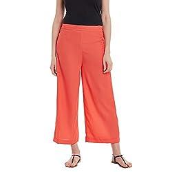Panit Orange Stylish Plazzo Trousers Medium