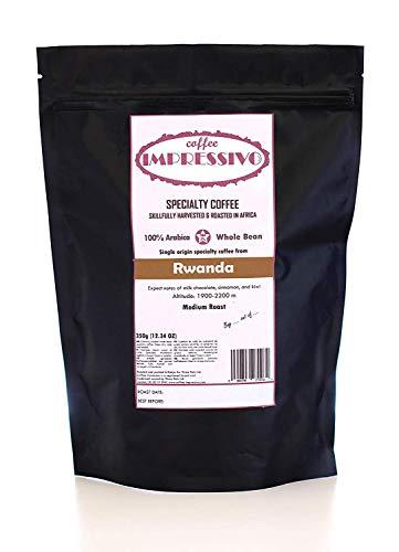 Rwanda:: Impressivos Kaffeespezialität aus Rwanda, 100% Arabica, Single Origin Ganze Bohnen, fachkundig in Afrika geröstet (nordischen Röstung), Top 5% Kaffee der Welt, 350g