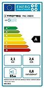 TROTEC Condizionatore PAC 2000 E (7.200 Btu)  Il climatizzatore PAC 2000 E ha una capacità di raffreddamento di 2,1 kW (7.200 Btu) e una portata d'aria massima di 330 m³/h.  Questo fantastico condizionatore d'aría può essere sistemato in qual...