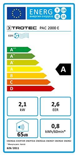 Trotec Climatiseur avec minuteur, télécommande infrarouge, trois vitesses de ventilation, sens de soufflage réglable PAC 2000E 2,1kW/7200BTU EEK A