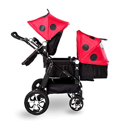GHH Double Strollers Baby Pram Tandem Buggy Newborn Pushchair Ultra Light Folding Child Shock Absorber Trolley Can Sit Half Lying 0-3 Years Old(Maximum Loadable 50Kg Baby),Coolblack/ladybug