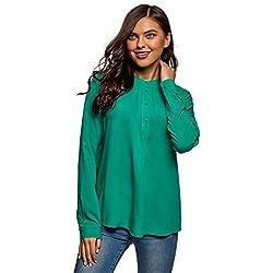 oodji Collection Mujer Blusa de Viscosa con Silueta en A, Verde, ES 46 / XXL