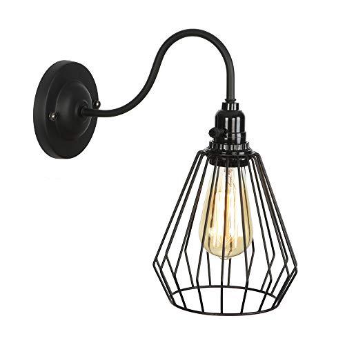 In ferro lampada da parete, industriale retrò loft americano singolo testa gabbia uccello lampada da parete specchio luce lampada da camera in ferro battuto,black