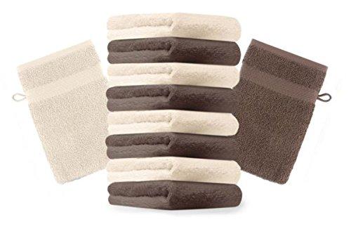 Betz lot de 10 gants de toilette taille 16x21 cm 100% coton Premium couleur beige, marron noisette