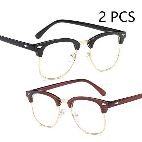 FZXHJ Anti-Blu-Ray-Brille, Vintage-Reisnagel-Metall-Brillengestell, Unisex-Computerspielbrille, Anti-Strahlen-Ermüdungsschutz (2 STÜCKE),1+4