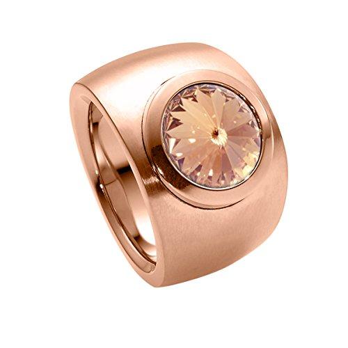 Heideman Ring Damen Coma Verlauf aus Edelstahl Rosegold farbend matt Damenring für Frauen mit Swarovski Stein Kristall Light Peach im Fantasie Edelsteinschliff 10mm