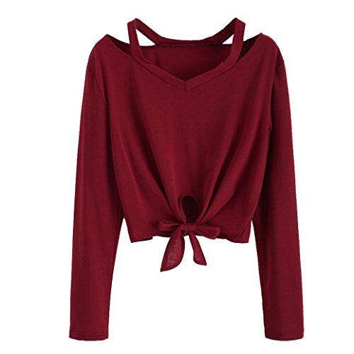 MERICAL Fashion Women Bow Tops Long Sleeve Hollow Out V-Neck Casual T-Shirt Blouse