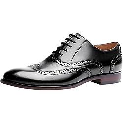 Jamron Hombres Clásico Piel Genuina Brogue Oxfords Elegante Formal Zapatos de Vestir Talla Grande Negro SN01011 EU42