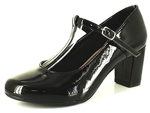 Neu Damen/Damen Schwarz Lack Mary Jane-stil T-Riemen Pumps - schwarz