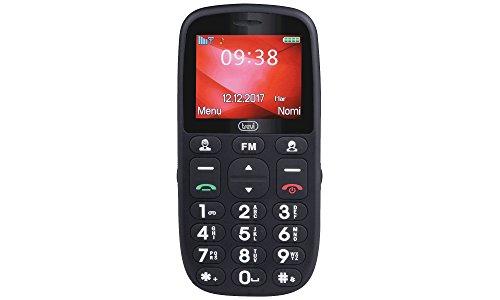 Trevi MAX 24 Telefono Cellulare per Anziani con Tasti Grandi, Grande Display, Base di Ricarica, Funzione SOS, Bluetooth, Radio, Nero