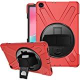 SYNTAKS Galaxy Tab A 10.1 2019 Case(Model: SM-T510 SM-T515),[360 Degree Swivel Stand/Hand Strap] Slim Heavy Duty Shockproof Rugged Full Body Protective Case (red)