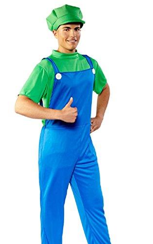 (Folat 21983 - Erwachsenenkostüm Super Klempner, blau / grün)