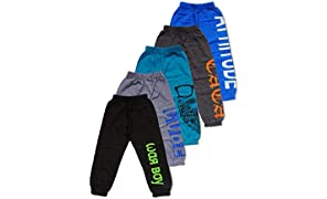 T2F Boys' Printed Track Pants (Pack of 5, Multicolor)