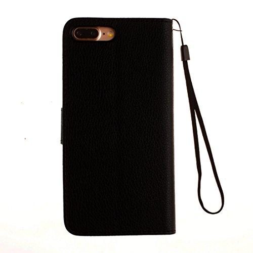 Hülle für iPhone 7 plus , Schutzhülle Für iPhone 7 Plus Litchi Texture Horizontale Flip PU Ledertasche mit Halter & Card Slots & Brieftasche & Lanyard & Foto Frame ,hülle für iPhone 7 plus , case for  Black