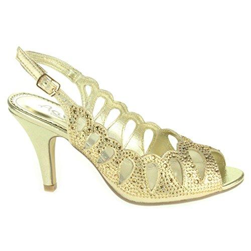 Sandálias De Mulheres Corte Senhoras Da Diamante Festa De Médio Baile Tamanho De Salto De Peep Sapatos Casamento Ouro Toe A Laser Noite De ffTrnx