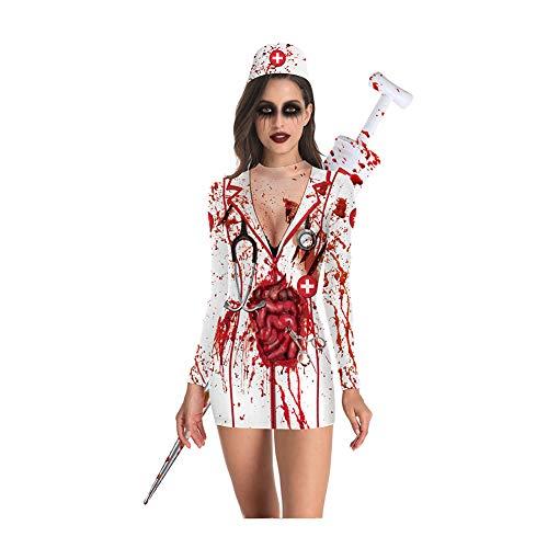 CYYMY Damen Blut Krankenschwester Uniform Kostüm Halloween Einstellen Anzieh Bühnenanzug Partykleidung Cosplay Rock Clubwear,L (Festival Motto Kostüm)