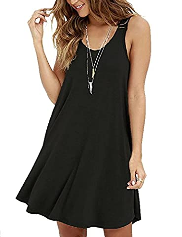 VIISHOW Women's Sleeveless Casual Loose T-Shirt Dress (Black L)