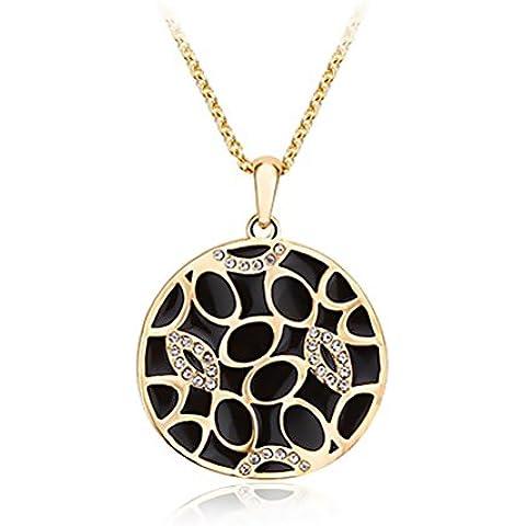 Aischalove Pendant Nero Oro Giallo foglia di loto cristallo dell'elemento di Swarovski placcato la collana per Lei