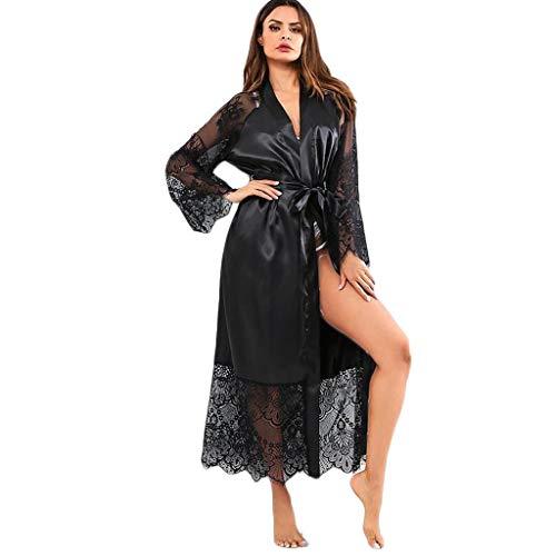 ingerie, Ladies Sexy Silk Lace Satin Kimono Robe Bathrobe Lingerie Sleepwear Belt Pajamas ()