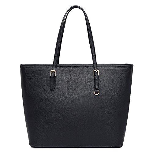 VECHOO Damen Handtasche Elegant Reissverschluss Schultertasche Premium Kunstleder Shopper tasche groß (Klassik Schwarz) (Schwarz Groß Shopper)