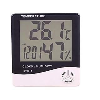 Alxcio Digital LCD Display Thermometer Hygrometer and Alarm Clock Desk Indoor Temperature Humidity Meter