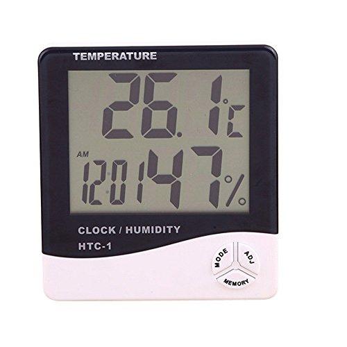 Preisvergleich Produktbild Alxcio Funk Thermo-Hygrometer mit Wecker Uhr Tischuhr Digital Temperature Humidity Meter Batteriebetrieben LCD Display Tragbar Bürouhr