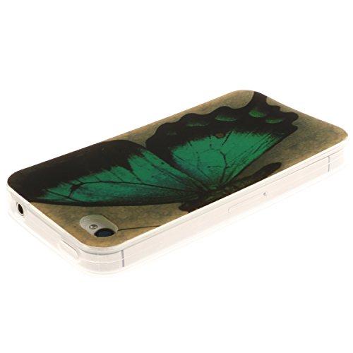 Meet de Feuillu herbe Slim de Protection Téléphone Case pour Apple iPhone 6 / iphone 6S, Apple iPhone 6 / iphone 6S Bumper Case Coque,Apple iPhone 6 / iphone 6S Slim TPU Transparent Silicone Housse Et papillon