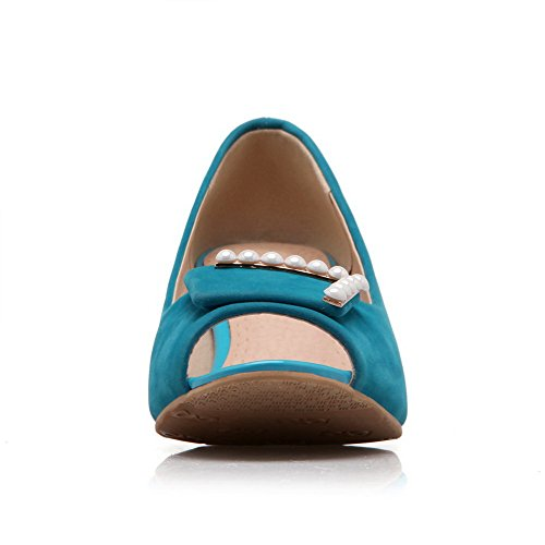 VogueZone009 Femme Couleur Unie à Talon Correct Ouverture Petite Tire Chaussures Légeres Bleu