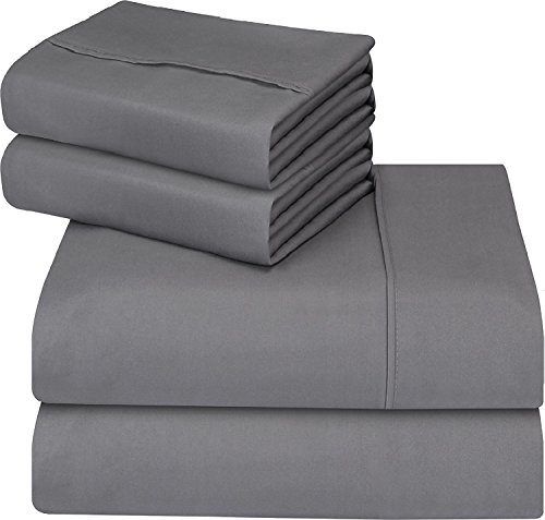 Utopia Bedding 4-Piece Bed Sheet Set - Soft Brushed Microfiber Wrinkle Fade and Stain Resistant (Grey, Double)