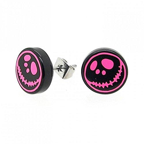 Image of 1 Paar Acryl Ohrstecker Ohrringe Ohrring Ohrschmuck Ohr Motiv Fratze Gesicht Schwarz Pink Edelstahl