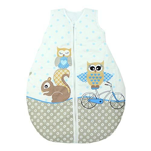 TupTam Unisex Baby Schlafsack ohne Ärmel Wattiert, Farbe: Eulen 2 Blau, Größe: 104-110