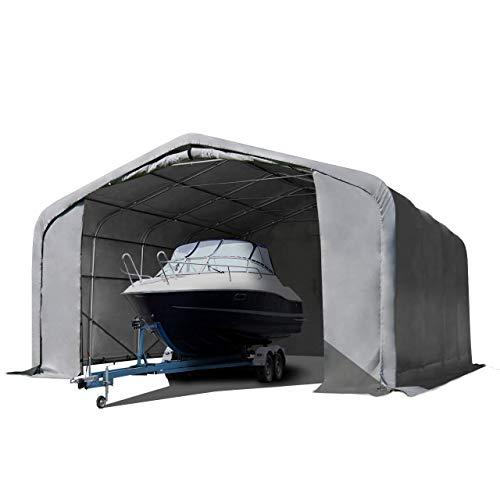 Wikinger Zeltgarage 6x6 m Lagerzelt Carport Torgröße 4,1x2,9 m für Boote, Wohnmobile, Traktoren - grau